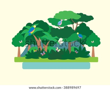 Tropical Forest Green Landscape with birds and butterflies, nature. Flat vector illustration