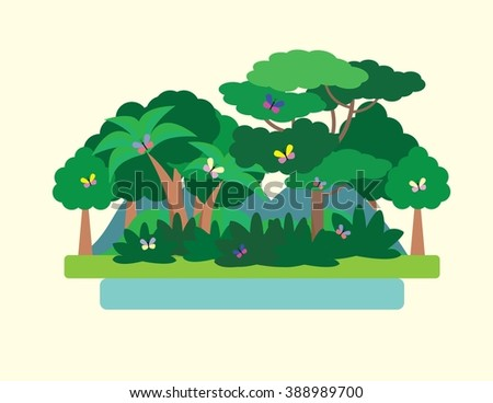 Tropical Forest Green Landscape with butterflies, nature. Flat vector illustration