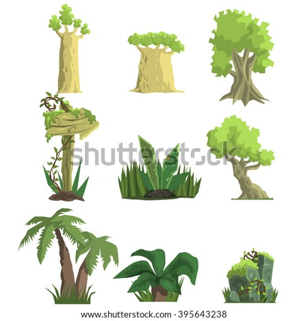 Tropical Forest Landscape Elements Realistic Flat Vector Illustration Set For Video Game On White Background - stock vector