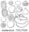 Tropical fruit set, black and white, each in separated layer. Vector illustration. - stock vector