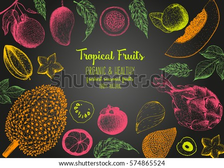 Tropical Fruits top view frame. Farmers market menu design. Healthy food poster. Vintage hand drawn sketch, vector illustration. Linear graphic