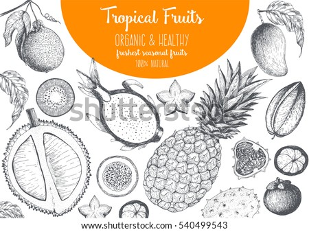 Tropical Fruits top view frame with mango, pitaya, mangosteen, passionfruit, carambola, durian. Farmers market menu design. Healthy food poster. Vintage hand drawn sketch, vector illustration.