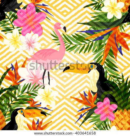 Tropical Geometric Summer. Tropical summer seamless vector pattern background. - stock vector