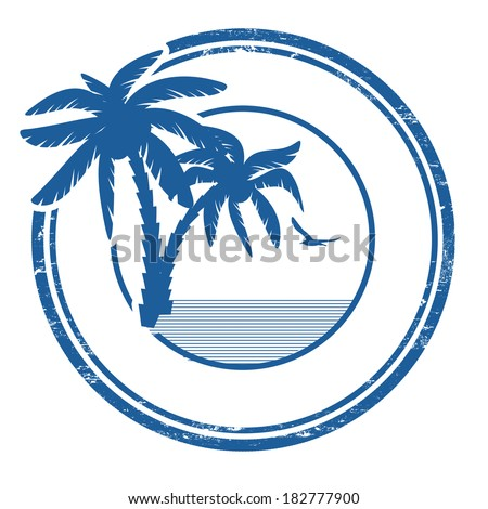 Tropical grunge rubber stamp with palm and space for your text on white, vector illustration - stock vector