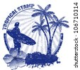 Tropical grunge rubber stamp with palms and surfer, vector illustration - stock vector