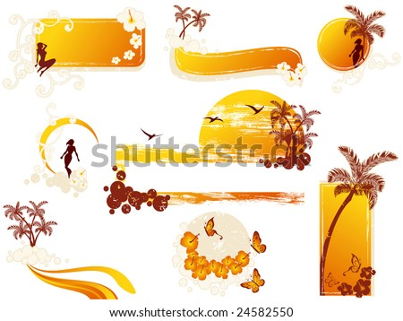 Tropical grunge-style elements (vector); a JPG version is also available - stock vector