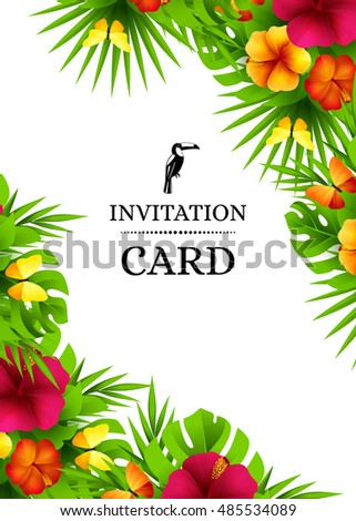 Tropical hawaiian background jungle palm tree stock vector tropical hawaiian background with jungle palm tree leaves exotic flowers and butterflies vertical vector stopboris Gallery