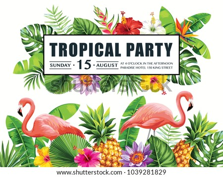 Vetor stock de tropical hawaiian party invitation flamingos tropical hawaiian party invitation with flamingos pineapples palm leaves and exotic flowers template stopboris Choice Image