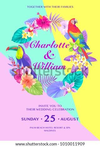 Tropical Hawaiian Wedding Invitation Birds Palm Stock Vector 2018