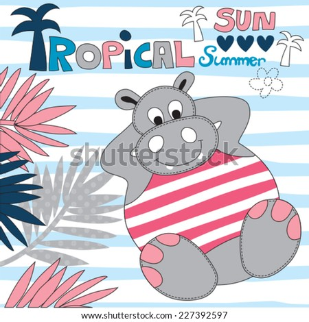 tropical hippo vector illustration