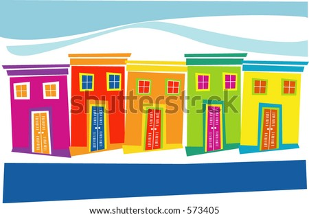 tropical houses - stock vector