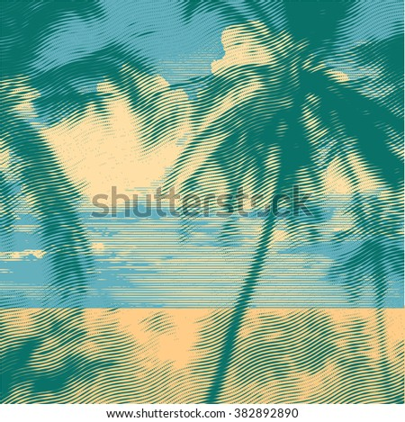 tropical idyllic landscape with palms trees and beach. vector illustration. - stock vector