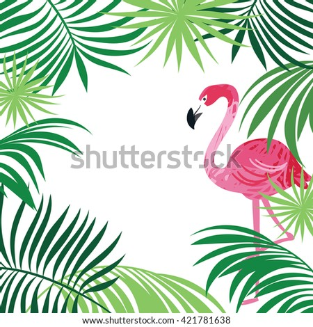 tropical illustration, pink flamingo and palm leaves - stock vector