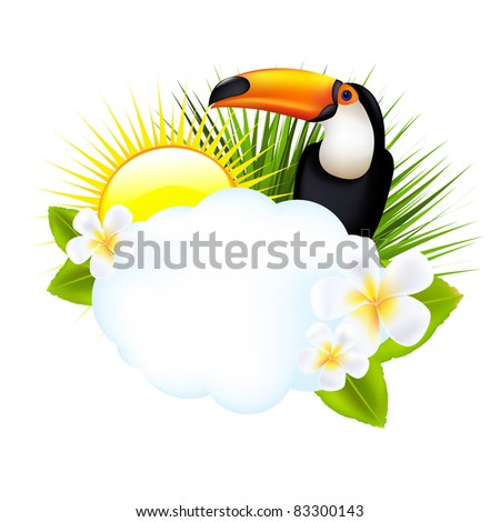 Tropical Illustration With Toucan, Isolated On White Background, Vector Illustration - stock vector