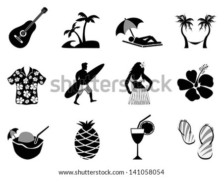 tropical island and beach vacation icons - stock vector