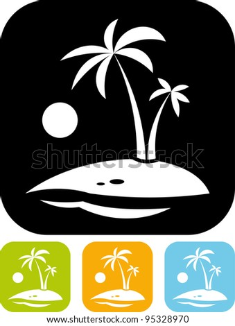Tropical island beach - Simple vector icon isolated on white - stock vector
