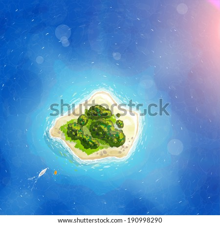 Tropical Island, Blue Ocean for Summer Design. With Sunshine, Trees and Yacht - stock vector