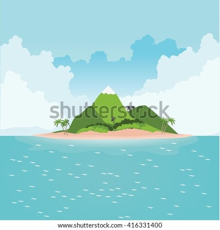 Tropical island in ocean with palm trees and mountains - stock vector