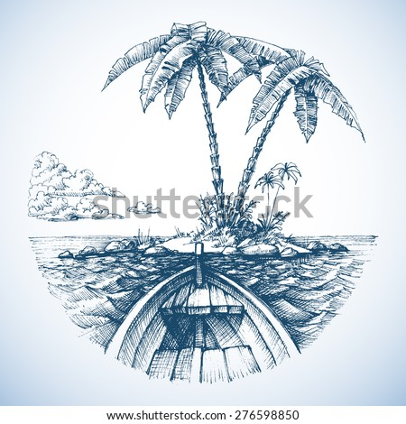 Tropical island in the ocean with palm trees, view from a boat - stock vector