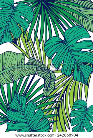 tropical island leaf vector/illustration - stock vector