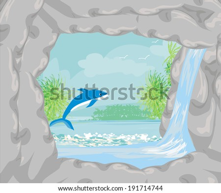 Tropical island paradise with leaping dolphin  - stock vector