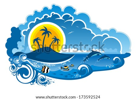 Tropical island paradise with leaping dolphins, fish swimming underwater, palm trees and sunshine for an idyllic summer vacation, cartoon illustration - stock vector