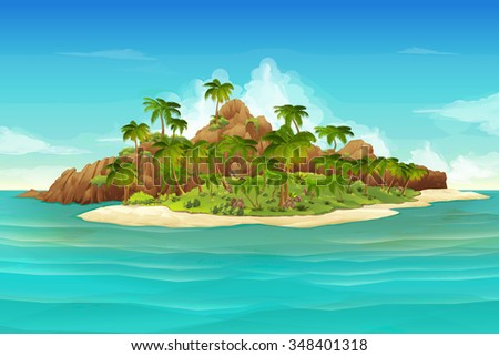Tropical island, vector background - stock vector