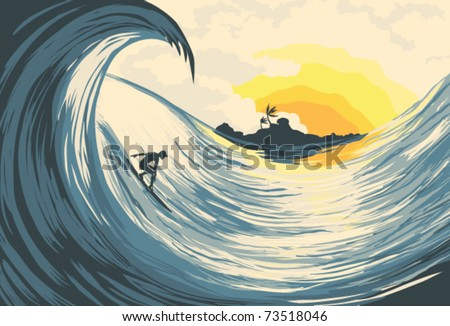 Tropical island wave and surfer  at sunset - stock vector