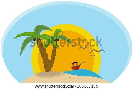 Tropical Island with beach, palm and ship vector illustration