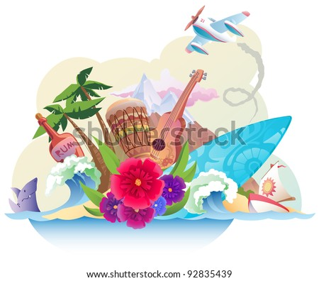 Tropical island with its music, surfing and the carefree lifestyle. - stock vector