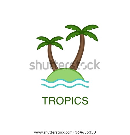 Tropical island with palm trees and ocean waves.Summer vacation concept. - stock vector