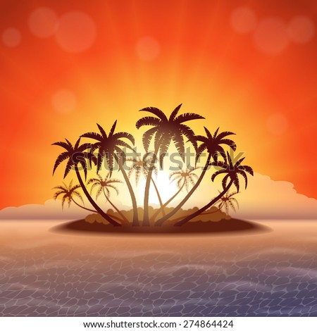 Tropical island with palm trees at sunset, vector illustration