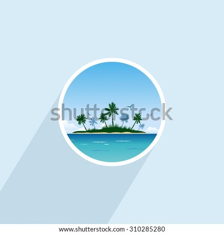 Tropical island with palm trees. Round icon - stock vector