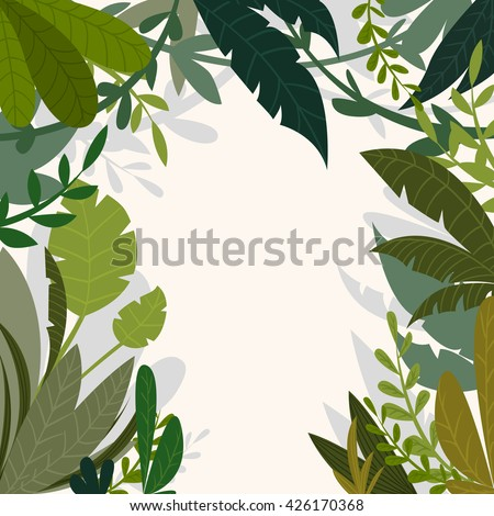 Tropical jungle background with palm trees and leaves in cartoon style. Vector illustration - stock vector
