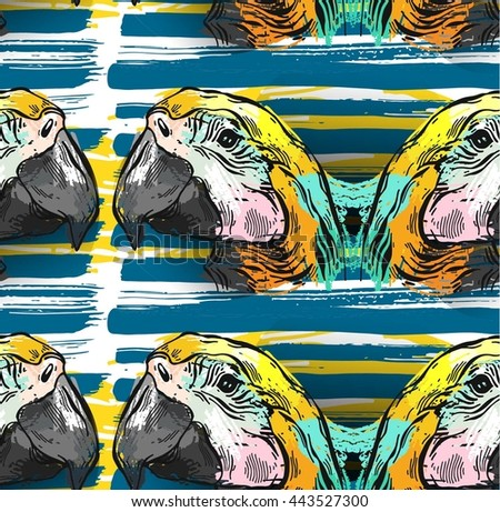 Tropical jungle seamless pattern with parrot bird macaw on brush stroke background.Hand draw abstract textured vector illustration.Tropical exotic birds pattern.Colorful tropic art.Tropical background - stock vector