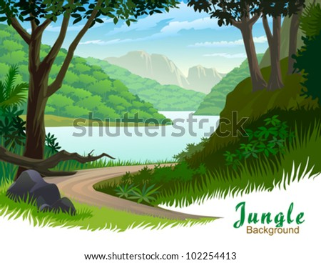 TROPICAL JUNGLE TREES AND SCENIC PATHWAY