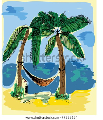 Tropical Landscape - stock vector