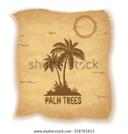 Tropical Landscape, Sea Island with Palm Trees and Grass, Sun, Bird Gull and Inscription Silhouettes on Vintage Background of an Old Sheet of Paper. Eps10, Contains Transparencies. Vector