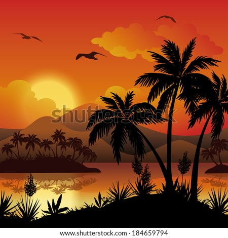 Tropical landscape, sea islands with palm trees, flowers, mountain, clouds, sun and birds gulls, black silhouettes on red - yellow background. Eps10, contains transparencies. Vector - stock vector