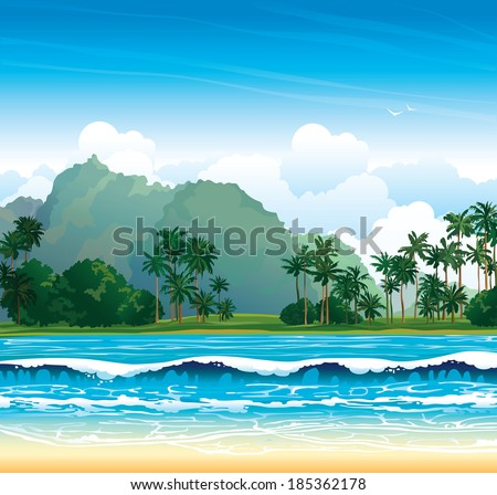 Tropical landscape with blue sea, waves and palms on a cloudy sky. Nature vector. - stock vector