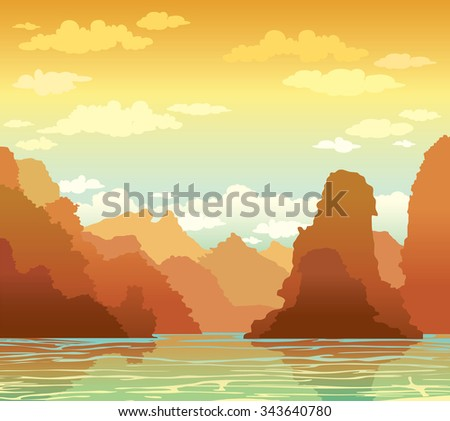 Tropical landscape with limestone rocks and sea bay on a sunset sky background. Nature vector illustration. - stock vector