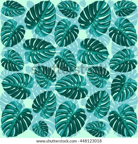 Tropical Leaf Monstera Plant Pattern - stock vector
