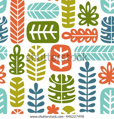 Tropical leaf seamless pattern. Jungle background. Retro fabric design. Vector illustration
