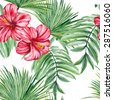 Tropical leaves and hibiscus flowers, dense jungle. Seamless, hand-painted, watercolor pattern. Vector background - stock vector