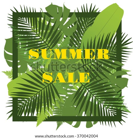 Tropical leaves background. Summer sale concept. Vector illustration