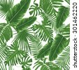 Tropical leaves, dense jungle. Seamless detailed, botanical pattern. Vector background. - stock vector