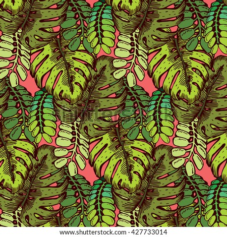 Tropical Leaves Pattern - stock vector