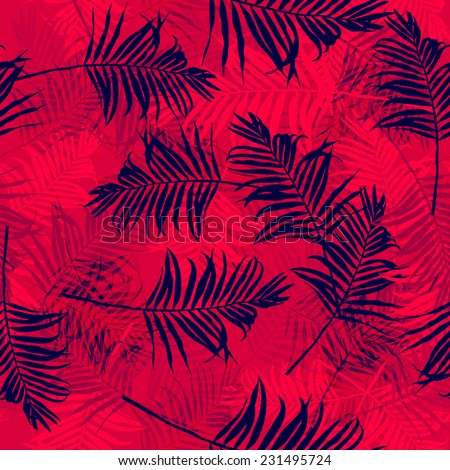 Tropical palm leaf pattern. Abstract background.X-ray. - stock vector
