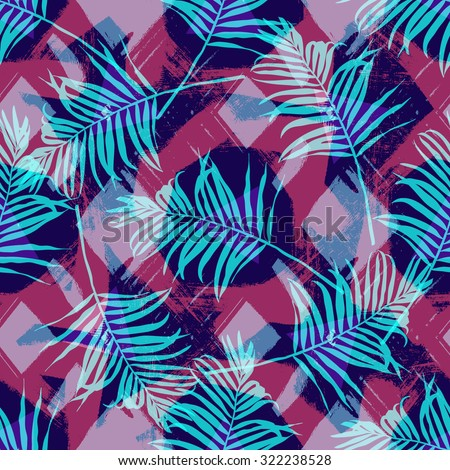 Tropical palm leaf pattern with geometric background.Vector fashion seamless creative art print for design. Neon colored jungle wallpaper.Speed style art with stylish geometric brush background. - stock vector