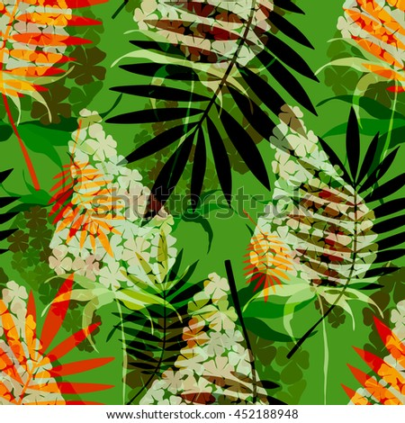Tropical palm leaves and exotic flowers seamless pattern . Vector floral background. - stock vector